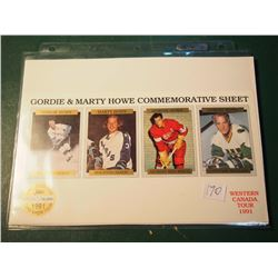 "Gordie Howe ""Mr. Hockey"" & Marty Howe Commemorative Sheet - Western Canada Tour 1991, Limited Editio"