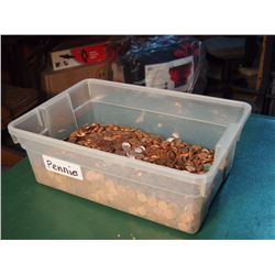 Tub Of Canadian Pennies Weighting Over 36 Lb