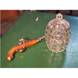 Pineapple Glass Jar W/ Napoleon's Replica 1804 Flintlock Pistol: Non-Firing, Authentic Reproduction