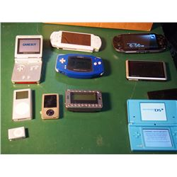 Box Of Assorted Electronics, Sold As Is - Satellite Radio, Gps, IPod, Nintendo Ds, Sony Ps Vita, Psp