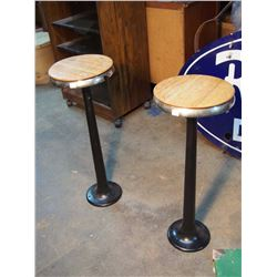 """Metal Bolt Down Stools, Wooden Tops (2) (One Damaged) (30"""" Tall)"""