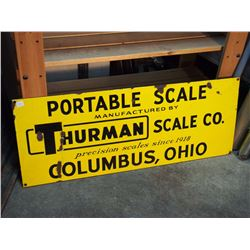 "Thurman Scale Co Porcelain Sign, SS, 36""X14"""