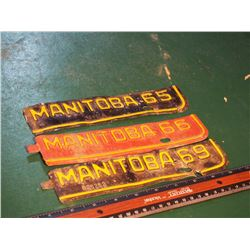 Manitoba Licence Plate Bottoms, 65', 66', 69'