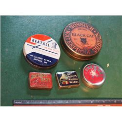 Small Tins (5) Pellets, Needles