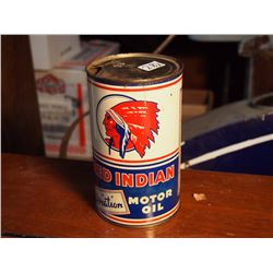 Red Indian Aviation Motor Oil, 10-10W Quart, Empty