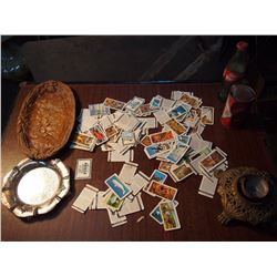 Lots Of Misc, Red Rose/Nabaob Cards, Ashtrays, Coke, Lamp Stand