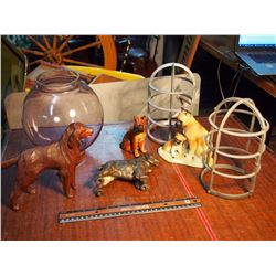 Dog Figurines, Lamp Post Covers, Purple Glass Globe