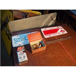 Misc Lot, Licence Plates, Champion Spark Plug Box With Contents, Gt Chrome Polish Tin