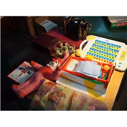 Lot Of Games, And Misc. (Vintage Monopoly Board, Magnovox, Chalk Board)