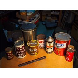 Lot of Misc. Tins (Prestone, Magic Baking Power, Rogers, Etc)