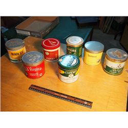 Lot Of Tobacco Tins (7) (Old Virginia, Export, Black Cat, Etc)