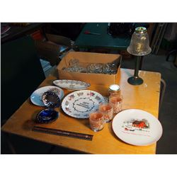 Lot Of Misc, Shell Ashtray, Candles, Commemorative Plates