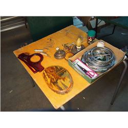 Lot Of Misc Items (Bottle Openers, Lamp, Wall Ornament)