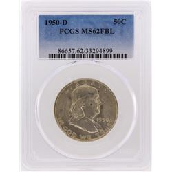 1950-D Franklin Half Dollar Coin PCGS Graded MS62FBL