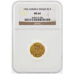 1926 $2 1/2 American Sesquicentennial Gold Coin NGC MS64