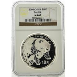 2004 China 10 Yuan Silver Panda Coin NGC MS69