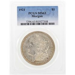 1921 $1 Morgan Silver Dollar Coin PCGS MS63