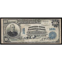 1902 $10 Peoples-First National Bank of Charleston Currency Note