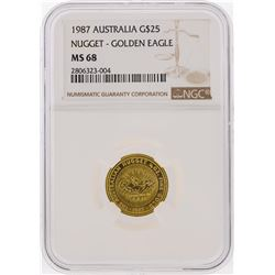 1987 $25 Australia Nugget Golden Eagle Coin NGC MS68
