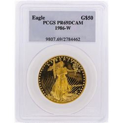 1986-W $50 American Gold Eagle Coin PCGS PR69DCAM