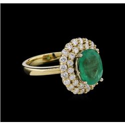 14KT Yellow Gold 2.63ct Emerald and Diamond Ring