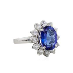 14KT White Gold 5.24ct Tanzanite and Diamond Ring