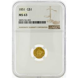 1853 $1 Liberty Head Gold Dollar Coin PCGS MS63