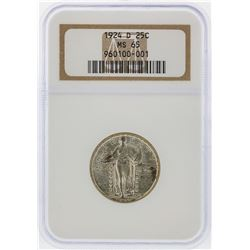 1924-D Standing Liberty Silver Quarter NGC Graded MS65