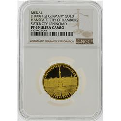 1990 10g Germany Gold Hamburg Sister City Leningrad Medal NGC Graded PF69 Ultra