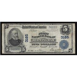 1902 $5 The First National Bank of Birmingham Currency Note