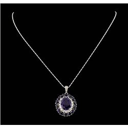 14KT White Gold 15.88ctw Sapphire and Diamond Pendant With Chain