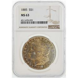 1885 $1 Morgan Silver Dollar Coin NGC MS63 Nice Toning