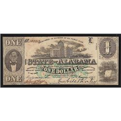 1863 $1 The State of Alabama Confederate States Bank Note