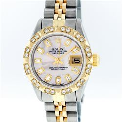 Rolex Ladies Two Tone 14KT Yellow Gold 0.70ctw Diamond Datejust Wristwatch