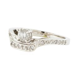 18KT White Gold 0.40ctw Diamond Ring with Cathedral Shank