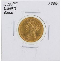 1908 $5 Liberty Head Half Eagle Gold Coin