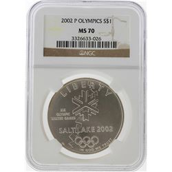 2002-P $1 Salt Lake Olympics Silver Coin NGC MS70