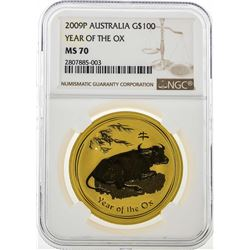 2009P Australia $100 Year of the Ox Gold Coin NGC MS70