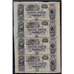 1800s $10 Uncut Sheet of New Orleans Canal Bank Obsolete Notes