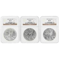 Set of 1995-1997 $1 American Silver Eagle Coins NGC MS69