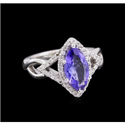 14KT White Gold 1.75ct Tanzanite and Diamond Ring