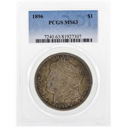 1896 $1 Morgan Silver Dollar Coin PCGS MS63 Great Toning