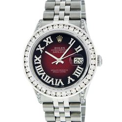 Rolex Mens Stainless Steel 3.50ctw Diamond Datejust Wristwatch
