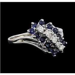 14KT White Gold 0.50ctw Sapphire and Diamond Ring