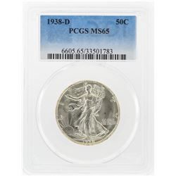 1938-D Liberty Walking Half Dollar Coin PCGS Graded MS65