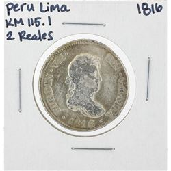 1816 Peru Lima 2 Reales KM115.1 Silver Coin