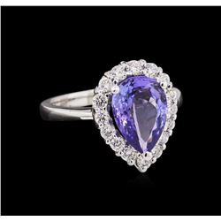 14KT White Gold 2.62ct Tanzanite and Diamond Ring