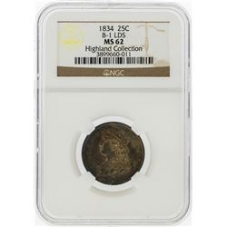 1834 Capped Bust Quarter B-1 LDS NGC Graded MS62