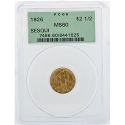 1926 $2 1/2 Sesquicentennial Quarter Eagle Commemorative Gold Coin PCGS MS60