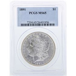 1891 $1 Morgan Silver Dollar Coin PCGS MS65